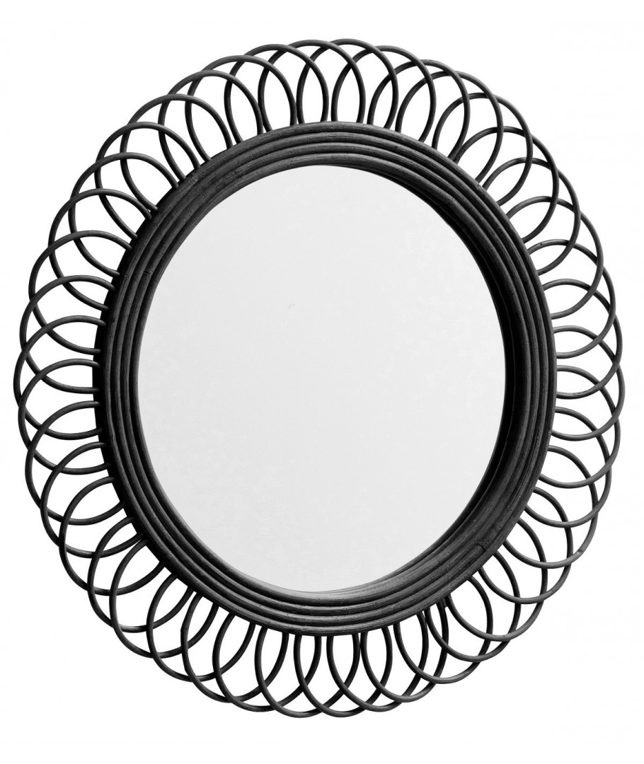 Nordal Rattan Mirror Round Black Decor