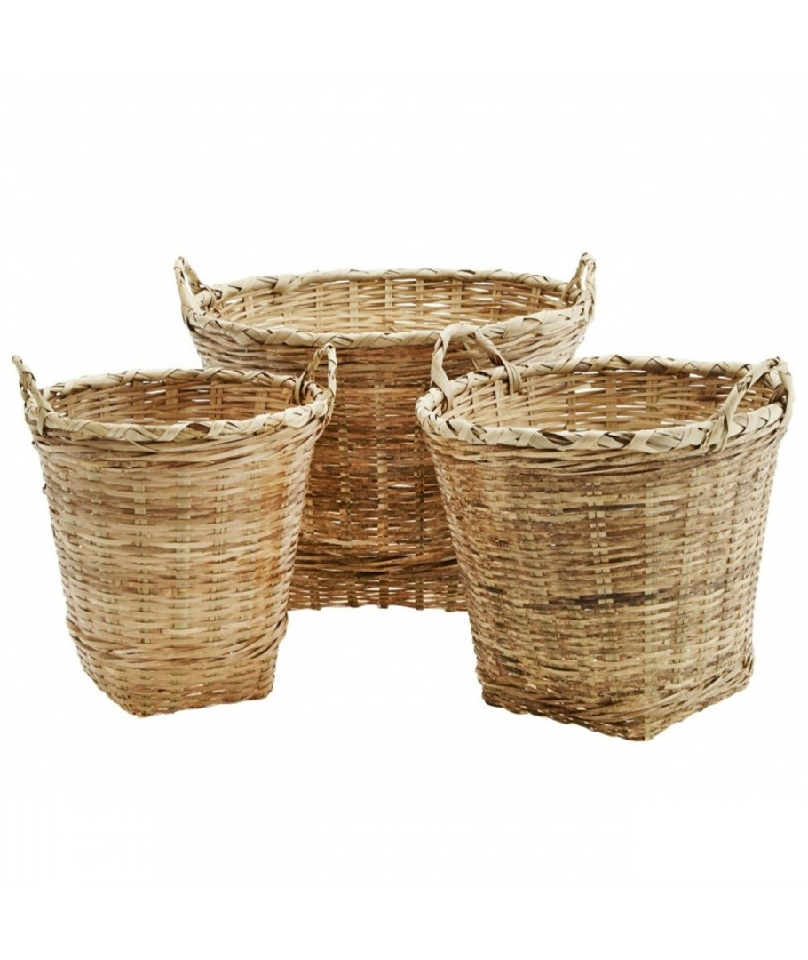 Bamboo baskets w/ handles natural, Madam Stoltz, Shelve &
