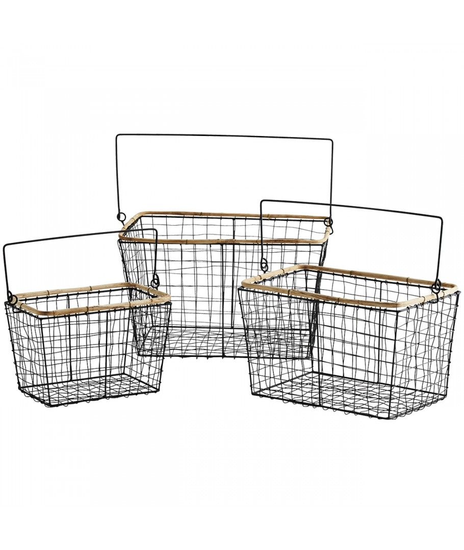 Set of Wire Baskets black, Madam Stoltz, Shelve & Storage