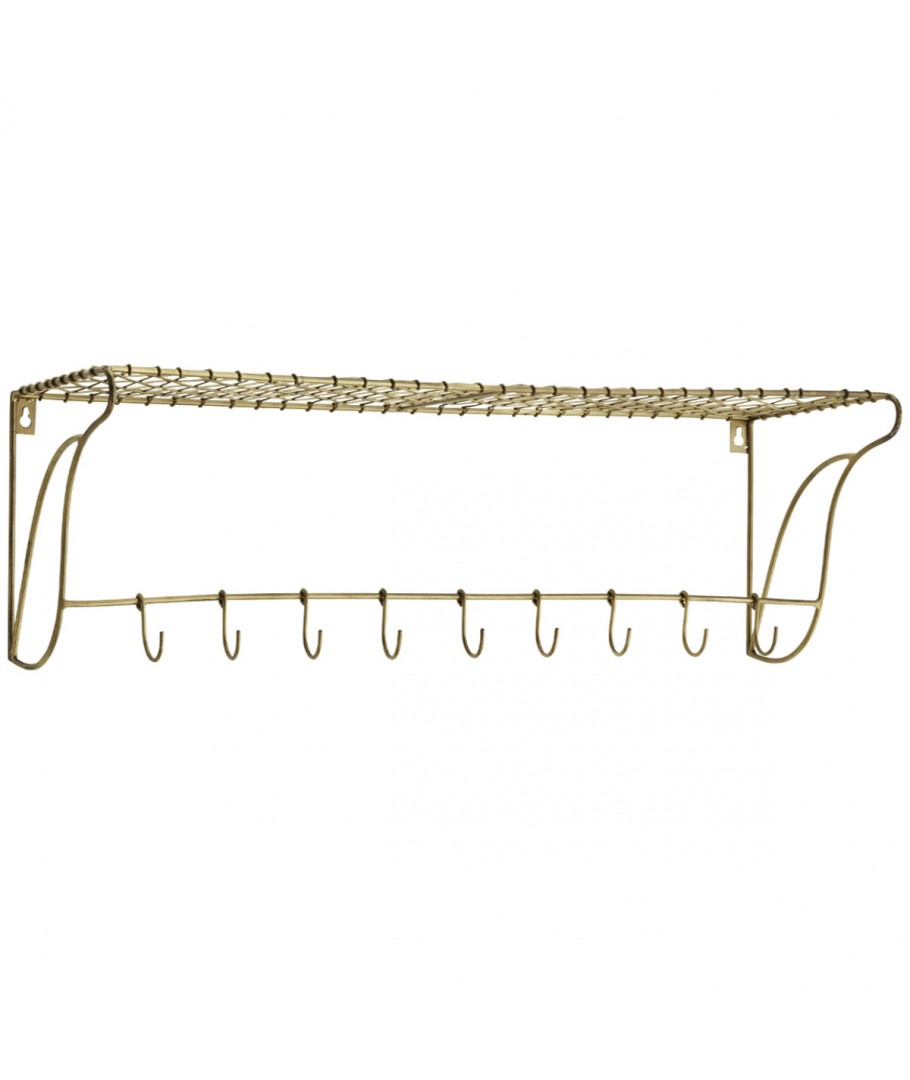 Shelf w/ hooks brass large, Madam Stoltz, Shelve & Storage
