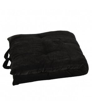 Velvet Mattress pure cotton black, Madam Stoltz, Pouffes & Bean