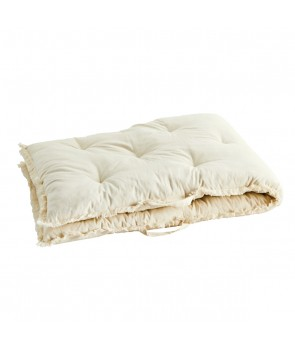 Mattress pure cotton ecru fringes, Madam Stoltz, Pouffes & Bean