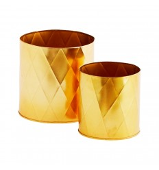 Set of 2 iron planters gold, Madam Stoltz, Decor